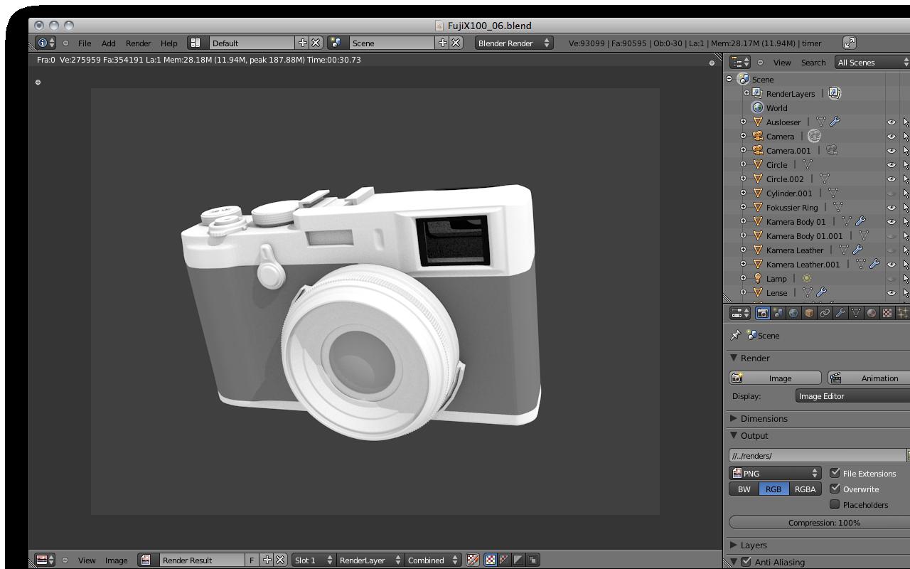 Fuji X100 – Blender 3d model
